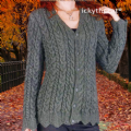 Digital Download PDF Vintage Knitting Pattern Ladies Women's Cabled Scalloped Aran Jacket Cardigan